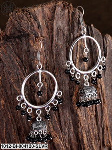 Priyaasi German Silver-Plated Black Oxidized German Silver Circular Drop Earrings