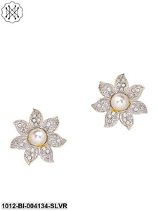 Floral American Diamond Stud Earrings