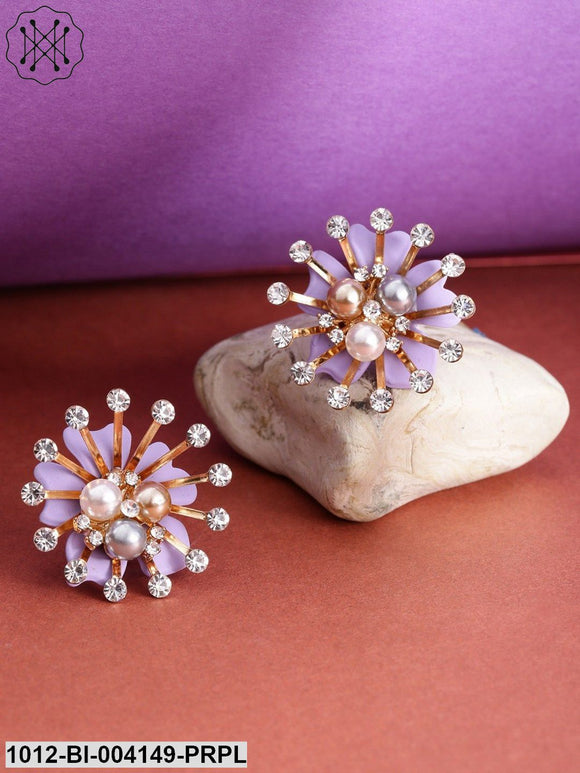 Prita Purple Gold-Plated Handcrafted Floral Oversized Studs