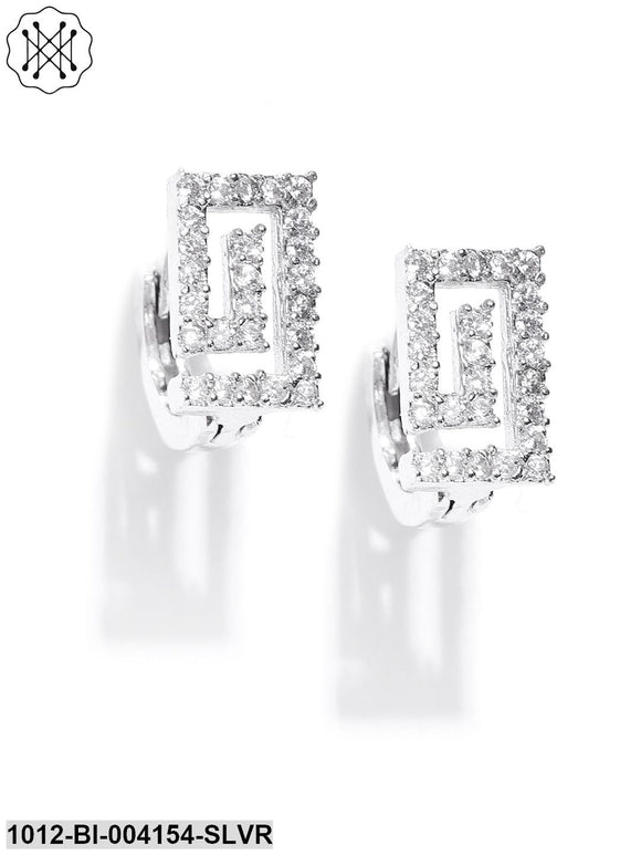 Prita Silver-Plated Handcrafted CZ Geometric Studs