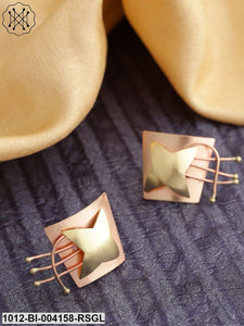 Prita Rose Gold-Toned & Gold-Toned Copper-Plated Handcrafted Contemporary Oversized Studs