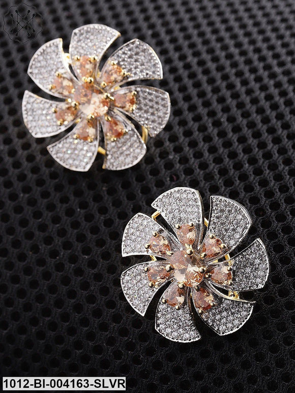 Priyaasi Peach-Coloured Gold-Plated American Diamond Studded Floral Studs