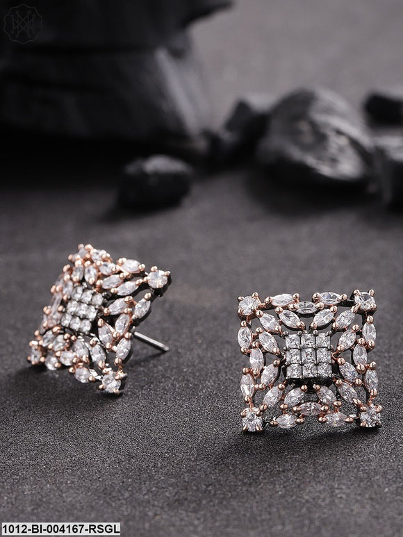Priyaasi Gunmetal-Toned Gold-Plated American Diamond Oversized Studs