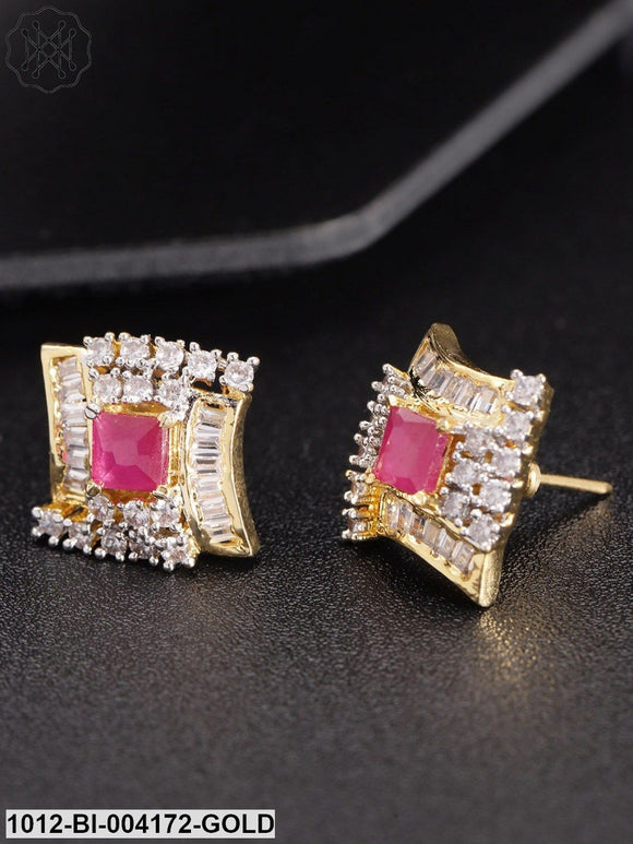 Priyaasi Magenta Gold-Plated Stone-Studded Geometric Studs