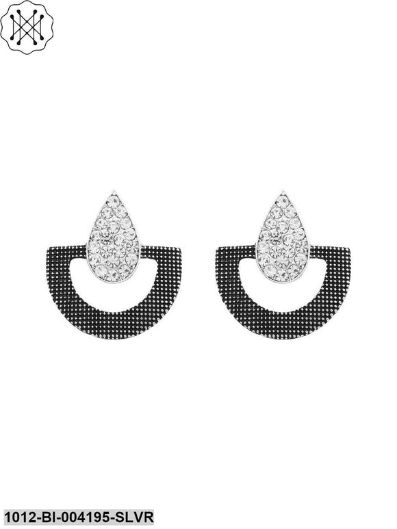 Prita White & Black plated Stud Party Wear or Daily Wear Earrings