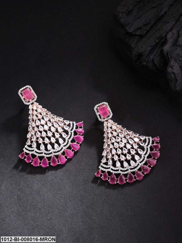 Priyaasi Rose  Gold Plated Cz,Ad And Maroon Stone Studded  Teardrop Shaped  Earrings
