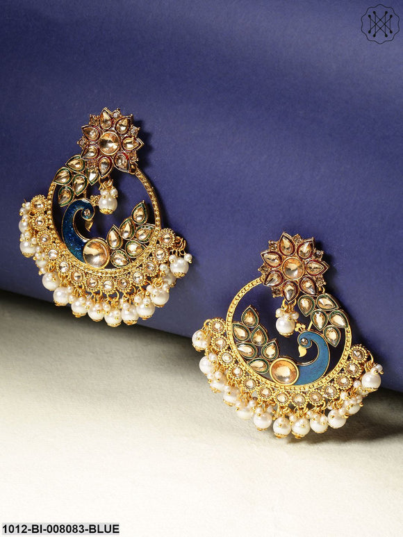 Priyaasi Gold-Toned Peacock And Flower Shaped Big Hoop Like Drop Earrings