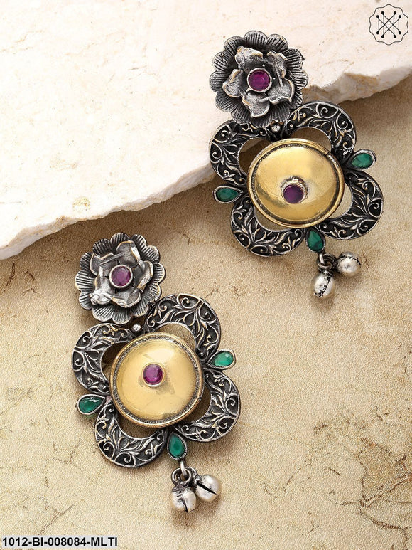 Priyaasi Antique Dual-Toned Green-Red Stone-Studded Floral Pattern Drop Earrings