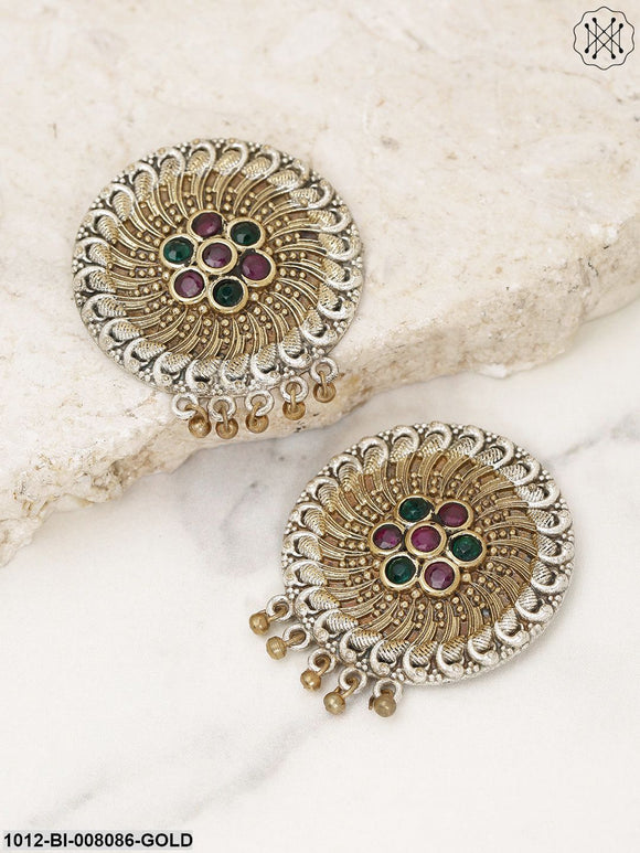 Priyaasi Gold Toned Red-Green Stone Studded Round Shape Drop Earrings