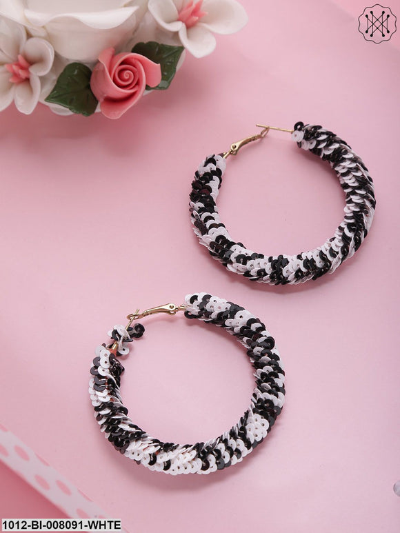 Prita Designer Black And White Handcrafted Big Hoop Earrings
