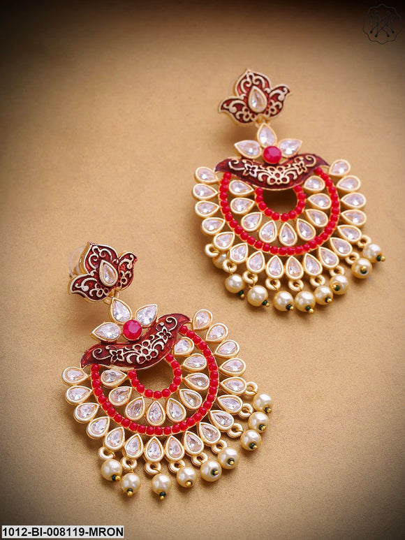 Priyaasi Gold-Plated Stone Studded Layered Design Red Drop Earrings