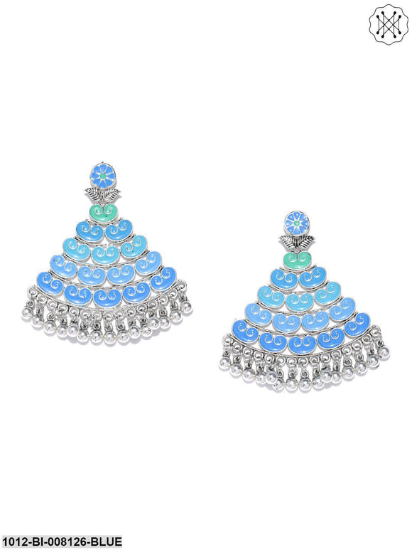 Priyaasi Silver-Plated Blue Shades Triangular Shape Drop Earrings