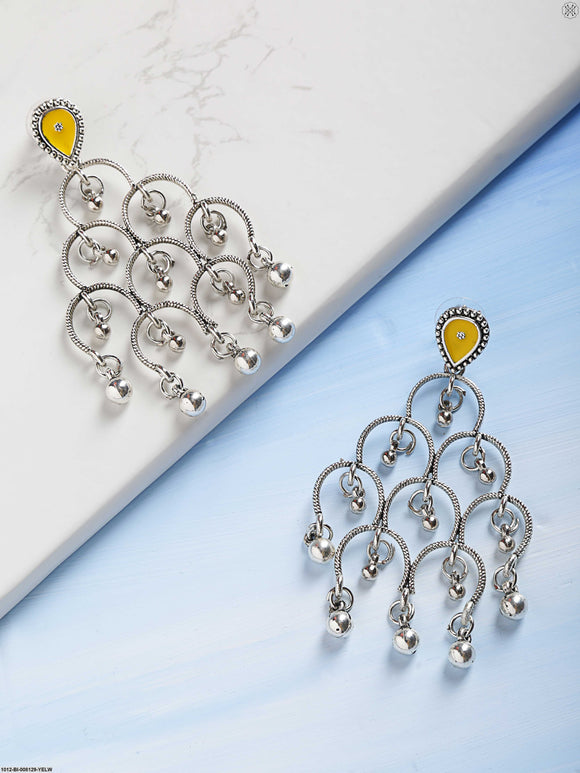 Priyaasi Silver Plated Beautiful Design Geometric Gunghroo Drop Yellow Earrings