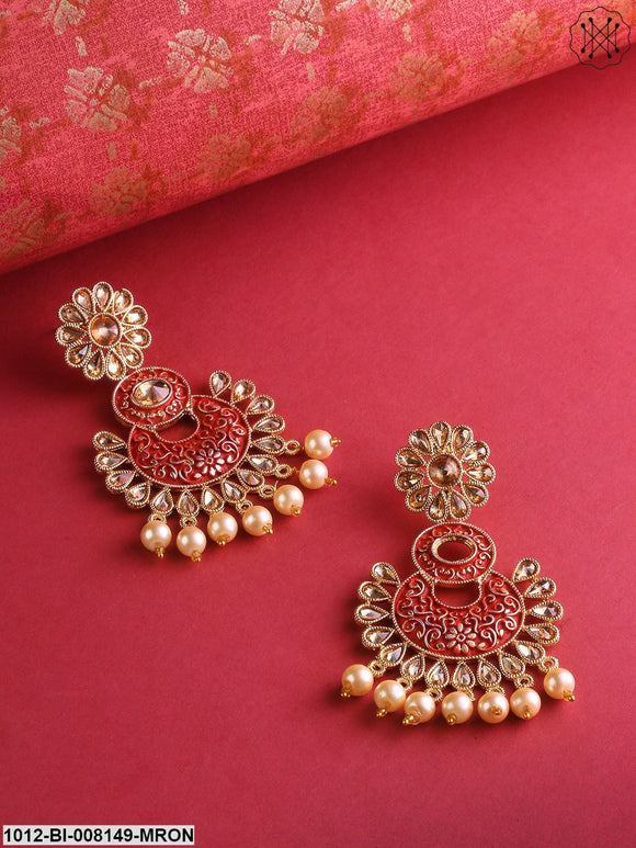 Priyaasi Gold-Plated Meenakari Beautiful Maroon Chandbalis Earrings