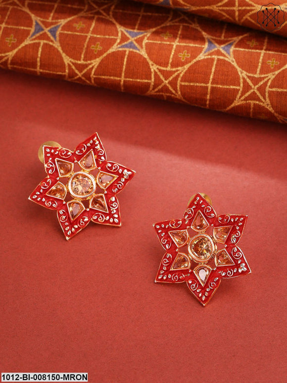 Priyaasi Gold-Plated Stone Studded Meenakari Star Shape Maroon Drop Earrings