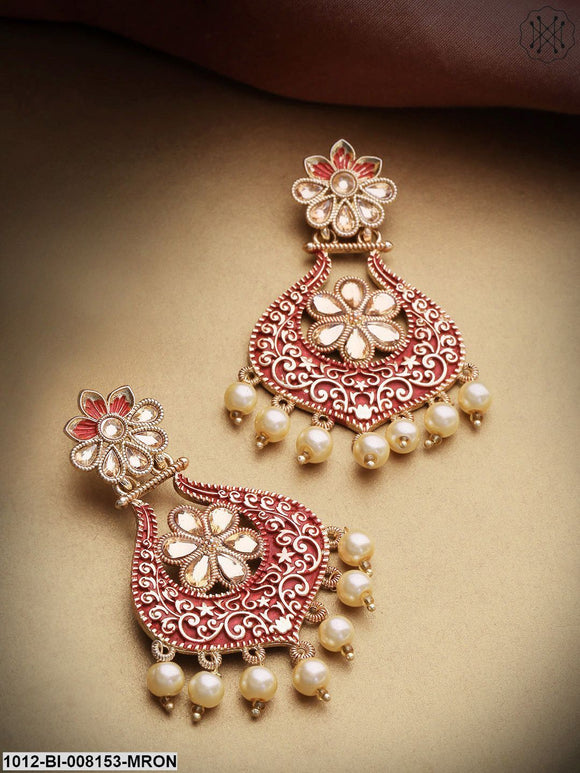 Priyaasi Gold-Plated Kundan Studded Meenakari Floral Maroon Colour Drop Earrings