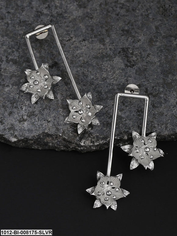 Prita Designer Silver-Toned Dual Flower Geometric Drop Earrings