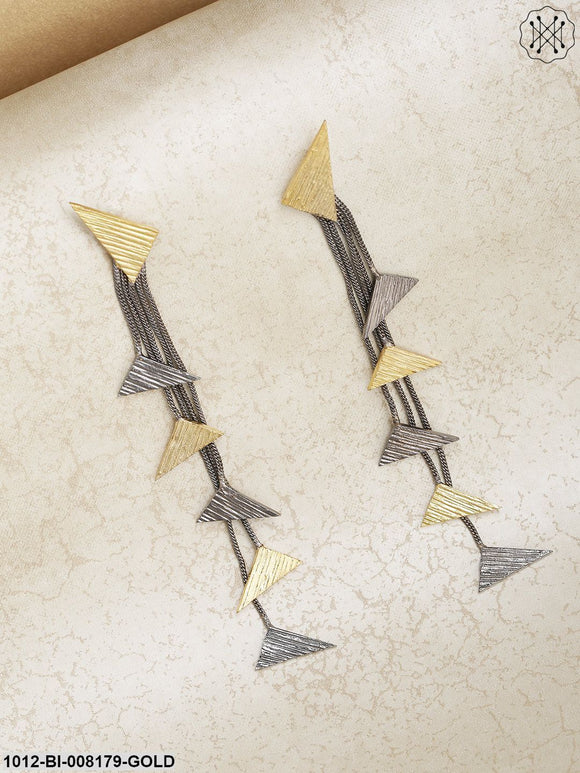 Prita Designer Dual-Toned Hanging Triangles Tasselled Hadcrafted Drop Earrings