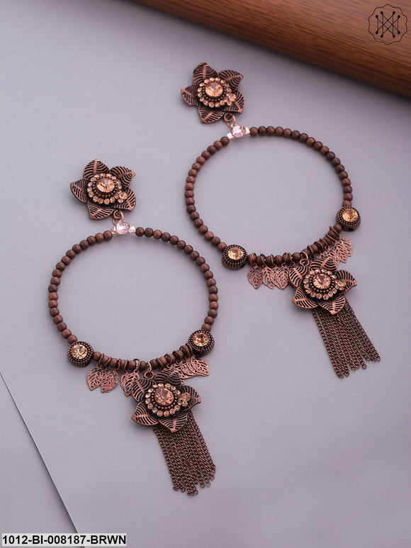 Prita Rose Gold-Plated Stone Studded Floral Inspired Hoop Like Beaded Drop Earrings