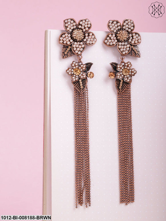 Prita Antique Rose  Gold Plated Beaded Flower Inspired Tasselled Earrings