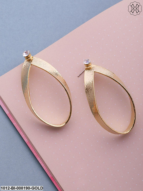 Prita Sparkling Gold Plated  Tear Drop Shaped Earrings