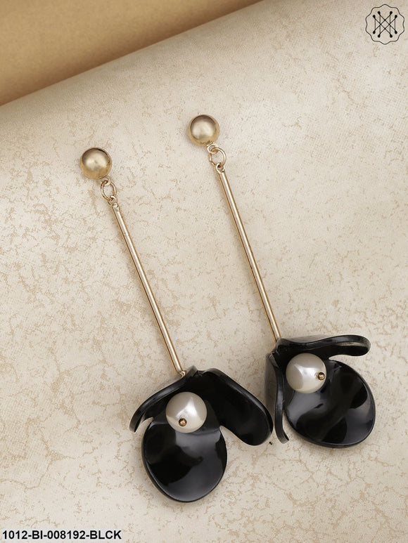 Prita Gold Plated Floral Designed Pearl Decorated Black Embellished Drop Earrings