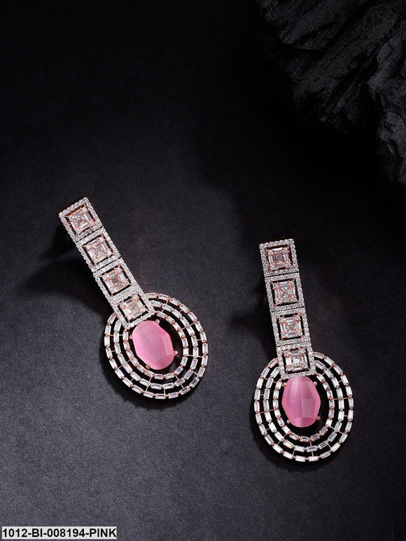 Priyaasi Pink Stone, Cz & Ad Studded Oval Shaped Drop Earrings