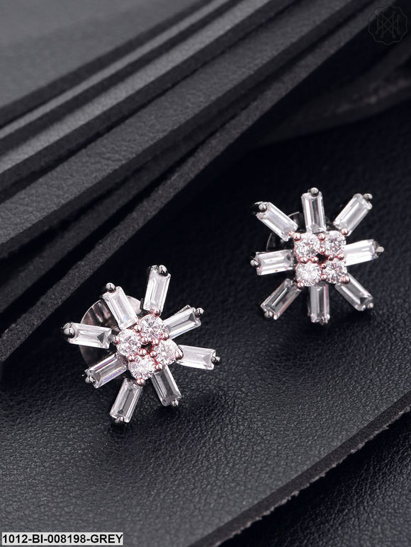 Prita Gun Metal Plated Cz And  Floral Designed Stud Earrings