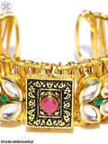 Priyaasi Pink & Black Gold-Plated Kundan-Studded Handcrafted Cuff Bracelet
