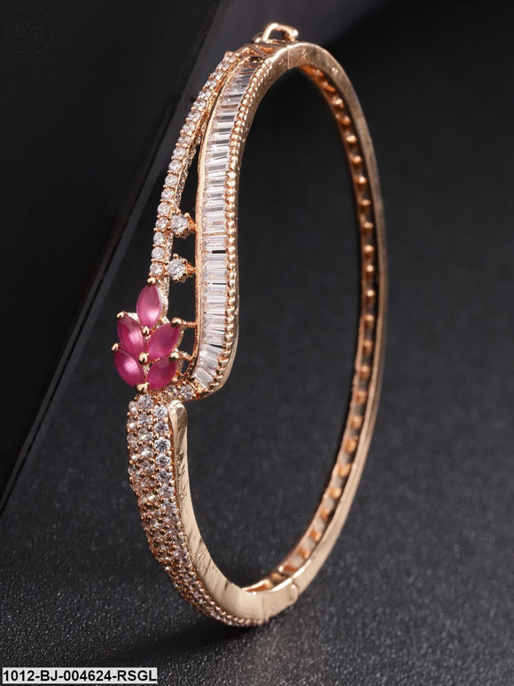 Priyaasi Magenta Rose Gold-Plated American Diamond Handcrafted Bangle-Style Bracelet