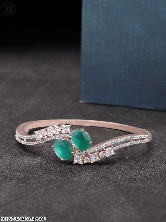 Priyaasi Green Rose Gold-Plated American Diamond-Studded Handcrafted Bangle-Style Bracelet