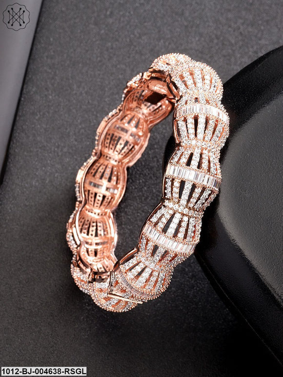 Priyaasi Rose Gold-Plated American Diamond-Studded Handcrafted Bangle-Style Bracelet