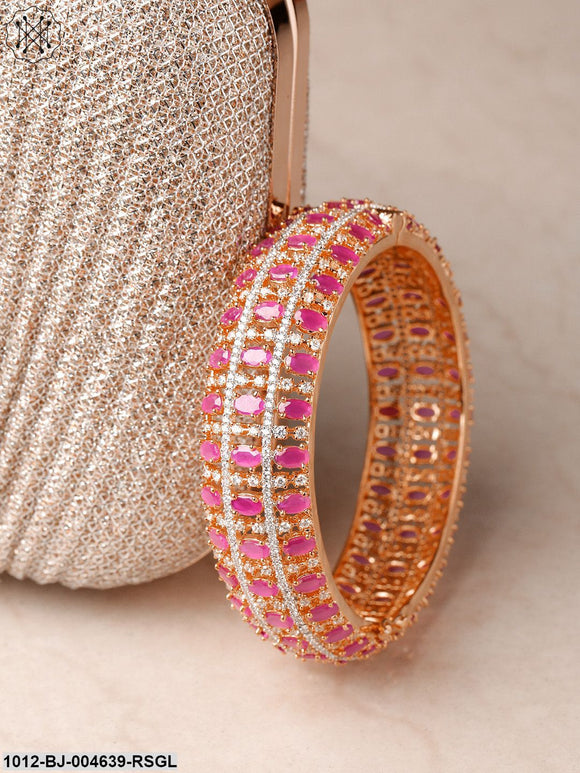 Priyaasi Pink & Rose Gold-Plated Handcrafted Bangle-Style Bracelet