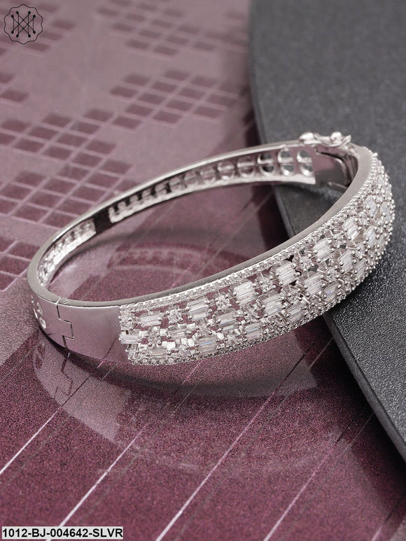 Priyaasi Silver-Plated CZ Stone-Studded Handcrafted Bangle-Style Bracelet