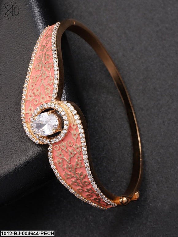 Priyaasi Peach-Coloured Gold-Plated CZ Stone-Studded Enamelled Bangle-Style Bracelet