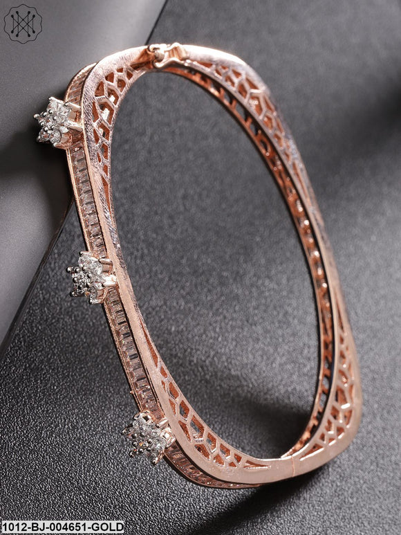 Priyaasi Rose Gold-Plated CZ Stone-Studded Handcrafted Bangle-Style Bracelet