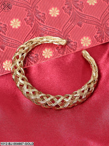 Priyaasi Gold-Plated Textured Handcrafted Kada Bracelet