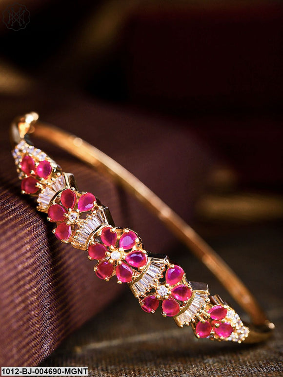 Priyaasi Magenta Gold-Plated CZ Stone-Studded Handcrafted Bangle-Style Bracelet