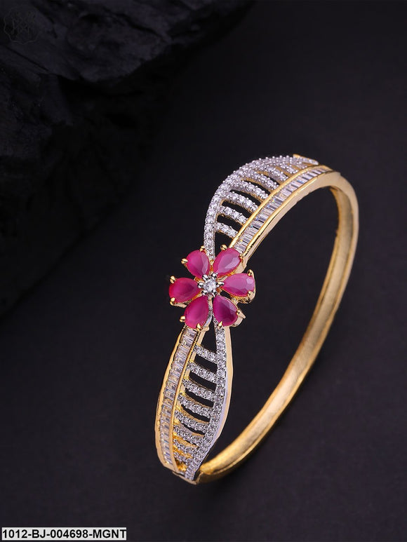 Priyaasi Pink Gold-Plated Ad-Studded Handcrafted Bangle Style Bracelet