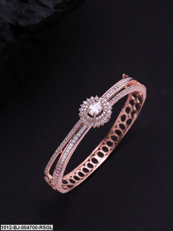 Priyaasi Rose Gold-Plated Stone Studded Handcrafted Bangle Style Bracelet