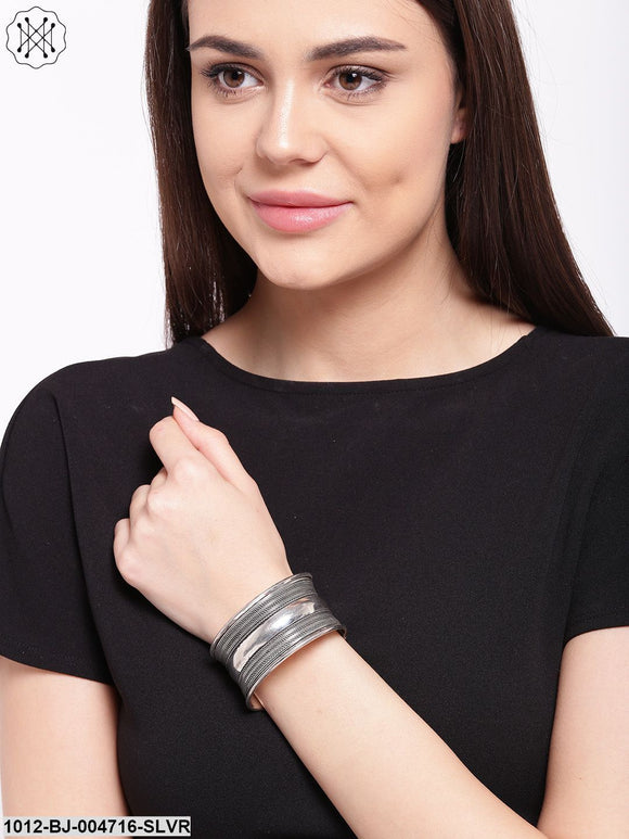 Prita Oxidised Silver-Plated Stainless Steel Cuff Bracelet