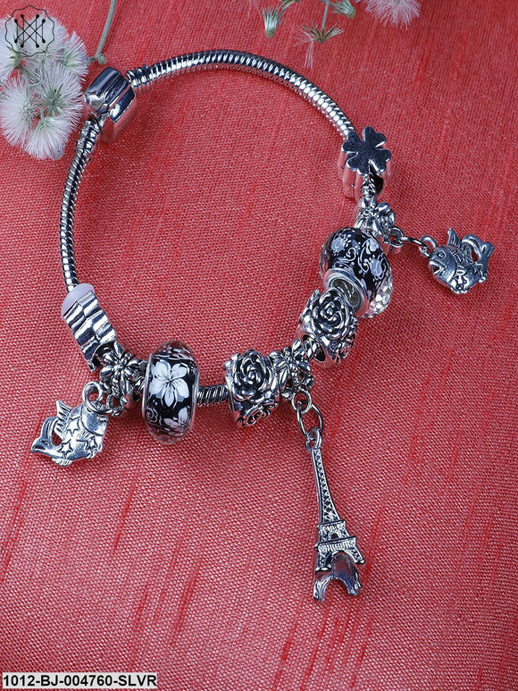 Prita Oxidised Silver-Plated Handcrafted Charm Bracelet