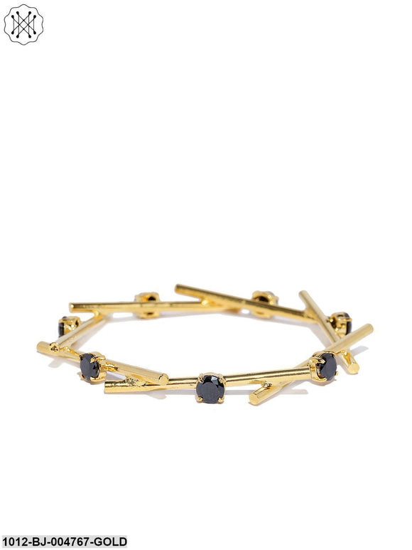 Prita Gold-Toned Navy Blue Stones Bars Linked Geometric Shaped Bracelet