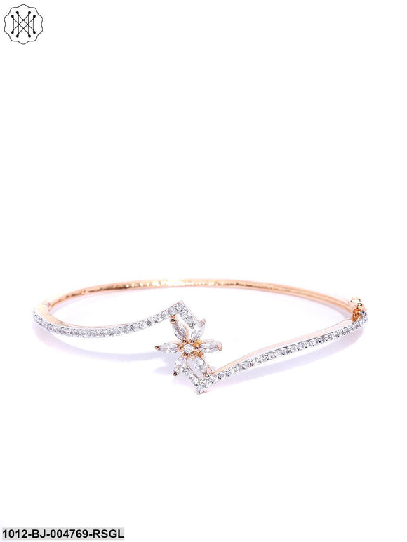 Prita Rose Gold Plated Floral Pattern American Diamond Studded Openable Bracelet