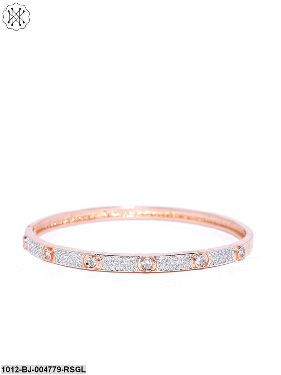 Prita Rose Gold Plated American Diamond Studded Openable Bracelet