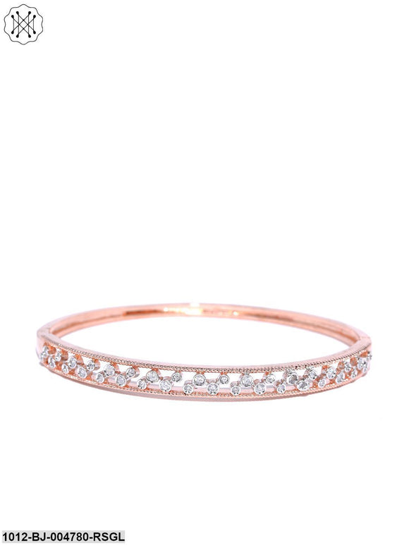 Prita Rose Gold Plated Off-White AD Studded Openable Bracelet