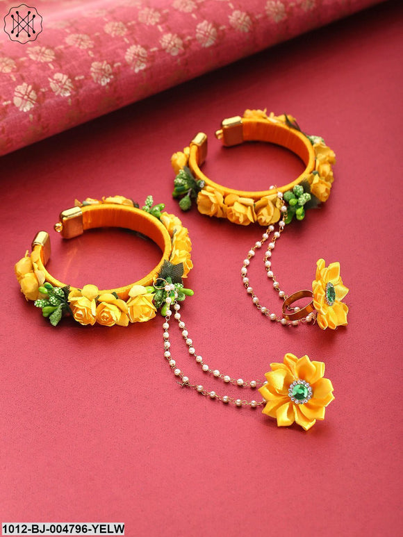 Priyaasi Floral Design Yellow Colour Handcrafted Fancy Hathphool