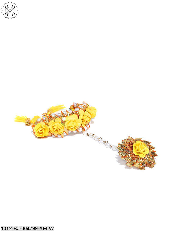 Priyaasi Golden Gota Patti Yellow Floral Pattern Pearl Decorated Free Size Hathphool