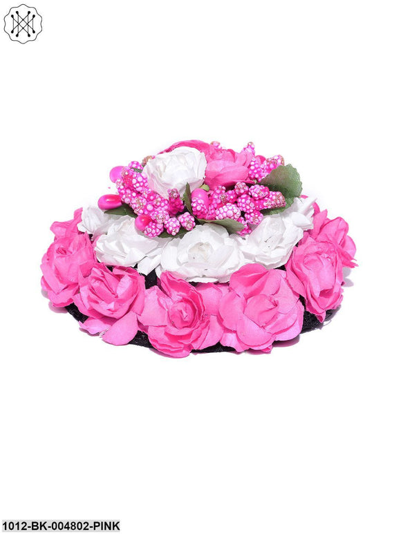 Priyaasi Artificial Pink And White Rose Flower Handcrafted Bun Maker Hair Accessories