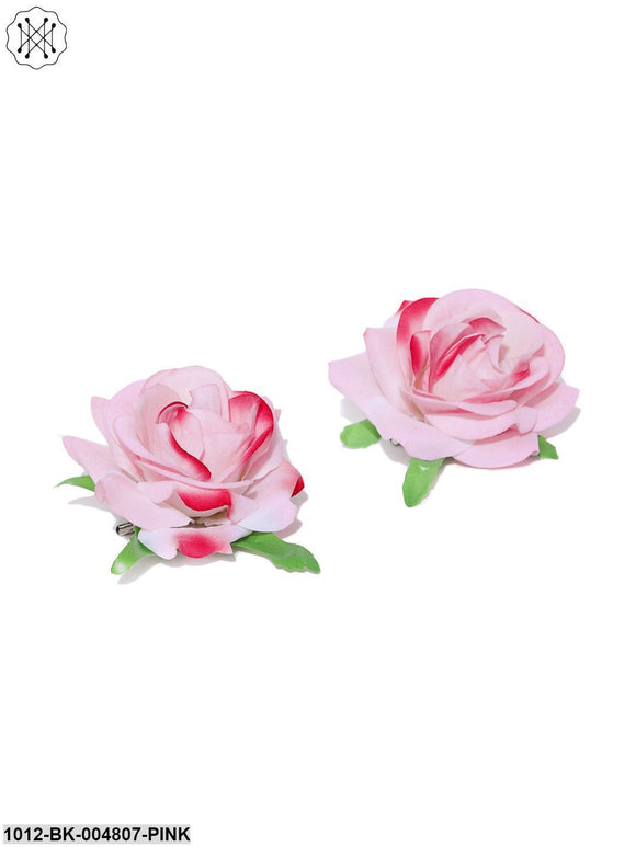 Priyaasi Set Of 2 Fabric Rose Flower Pink Colour Hair Clip